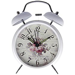 Bedside Twin Bell Alarm Clock with Backlight - 4 Pink Roses on White