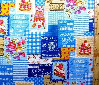 プリント生地・ケーキ カフェ(ブルー) (イチゴ ケーキ カップケーキ マカロン かわいい おしゃれ 男の子 女の子 子供 入園 入学 ピロル)
