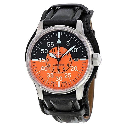Fortis Flieger Cockpit Negro y Naranja Dial Negro Cuero Mens Reloj 5951113l01: Fortis: Amazon.es: Relojes