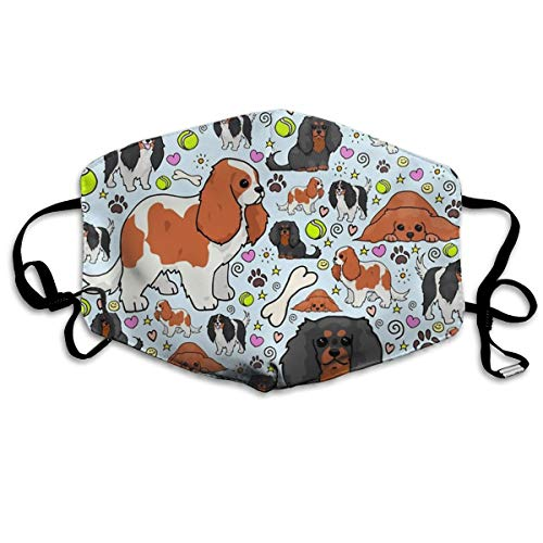 SyjTZmopre Cavalier King Charles Spaniel Pattern Mouth Mask Unisex Printed Fashion Face Anti-dust Masks
