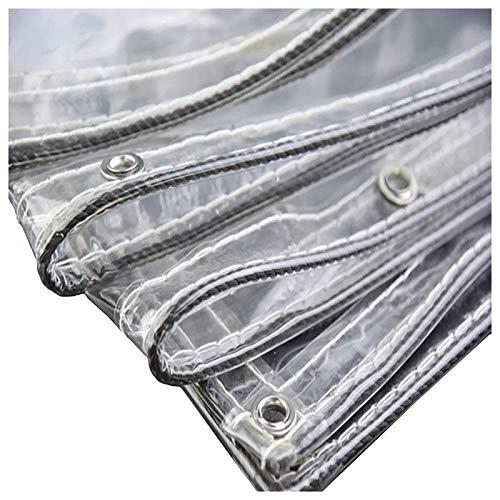 Zwaar, waterdicht, helder zeildoek met oogjes, 0,35 mm transparant PVC-glas doorzichtig zeil, regendicht buiten…