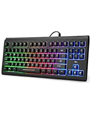 Rii RGB Gaming Keyboard RK104,Backlight Keyboard,Small Compact 87 Keys Computer Keyboard for Windows PC Laptop Desktop