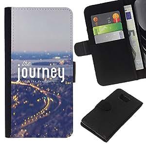KingStore / Leather Etui en cuir / Samsung ALPHA G850 / Viaje Niebla Azul Luces de la ciudad Viajar