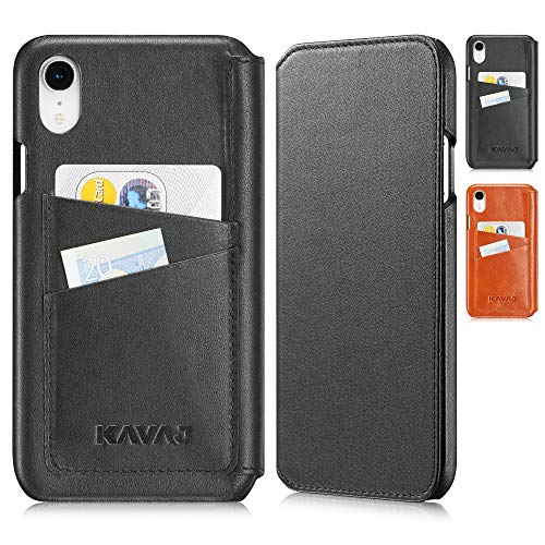 KAVAJ iPhone XR 6.1 Case Leather Dallas Black, Supports Wireless Charging (Qi), Slim-Fit Genuine Leather iPhone XR Wallet Case Leather Bumper Case with Business Card Holder Cover