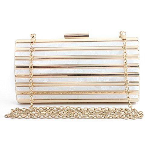 Girl's purse White Women's Clutch Fashion Clutch shoulder Flada Marble Acrylic Evening bag Evening Handbag wYpqwgB7