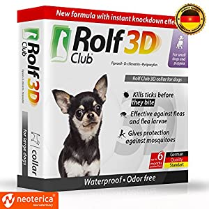 Rolf Club 3D FLEA Collar for Dogs - Flea and Tick Prevention for Dogs - Dog Flea and Tick Control for 6 Months - Safe Tick Repellent - Waterproof Tick Treatment 10