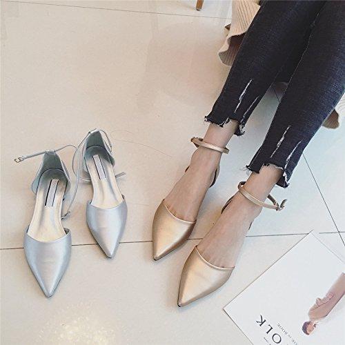 e punta con tirante oro sandali asolato via Bassa 36 bassa versatile scarpa piatta donne testata 4wY8HWpx