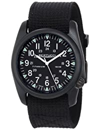 Bertucci Mens A-4T Vintage Yankee Analog Titanium Watch - Black Nylon Strap - Black Dial - 13415