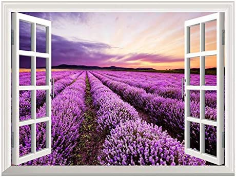 Removable Wall Sticker/Wall Mural - Lavender Field Out of The Open Window Creative Wall Decor - 36