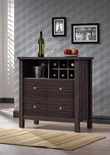 Wholesale Interiors Dakota Wood Wine Bar Cabinet, Dark Espresso Brown