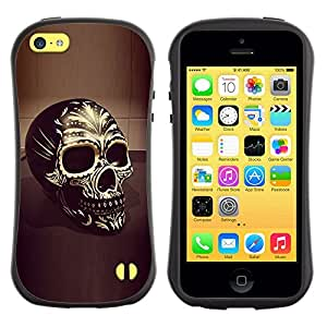 Fuerte Suave TPU GEL Caso Carcasa de Protección Funda para Apple Iphone 5C / Business Style Skull Yellow Gold Bling 3D Black Death