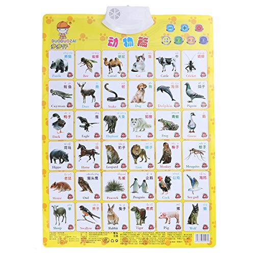 YeahiBaby Animal Learning Wall Chart Audio Chart Electronic Voice Chart Multifunction Preschool Toy for Kids Children (Chart Learning Animals)