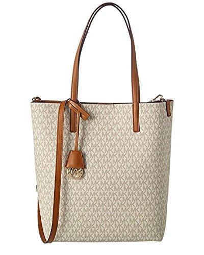 MICHAEL Michael Kors Womens Hayley Leather Convertible Tote Handbag Beige Large