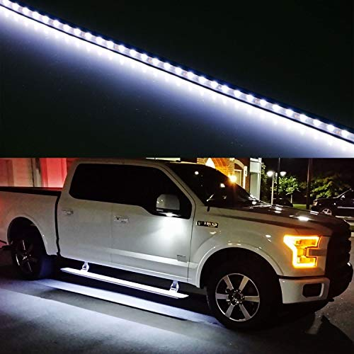 iJDMTOY (2) 40-Inch 63-SMD Flexible LED Running Board/Side Step Lighting Kit For Ford GMC Chevy Dodge Toyota Nissan Honda Truck SUV, Xenon White