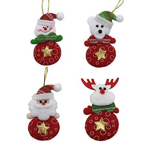 Christmas Dolls Decorations Lucky Hanging Drop Tree Ornaments Cute Xmas Gift 4pcs/lot(Santa Claus,Snowman,Bear,Deer) (Style a)