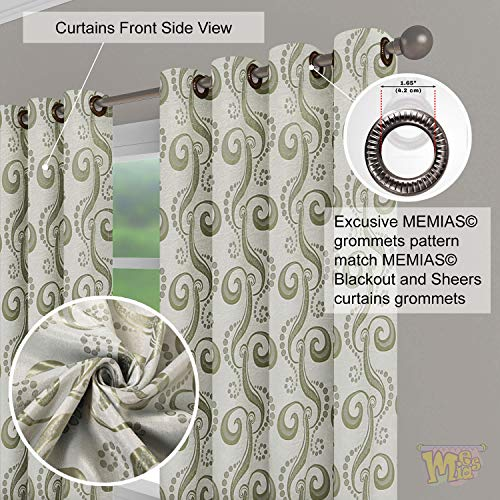 Jacquard Curtains Room Darkening Semi Blackout 250 GSM Grommet Window Drapes, Silky Double-Faced Fabric, Two Free Tie Backs, 2 Panels Total Wide 104