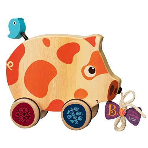 B. toys - Happy Go Piggy - Wooden Pull Toy - BPA Free Walk-A-Long Pull toy for Toddlers 18 months +