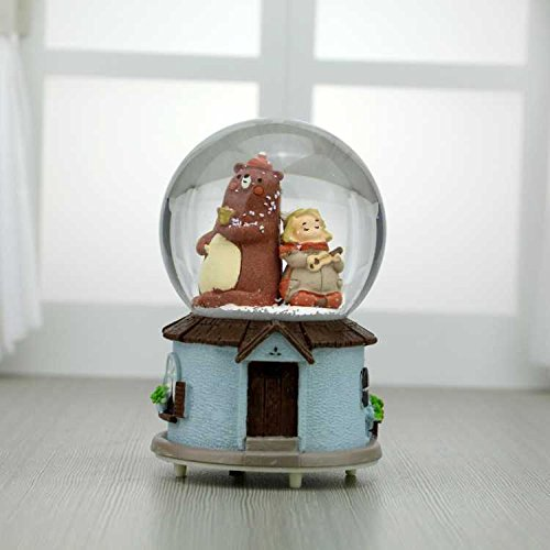 Manor Home Gifts - Sevenpring Creative Music Box Best Gifts European Style Happy Manor Bear Rotating Crystal Ball Music Box Home Dcorations-Blue Base