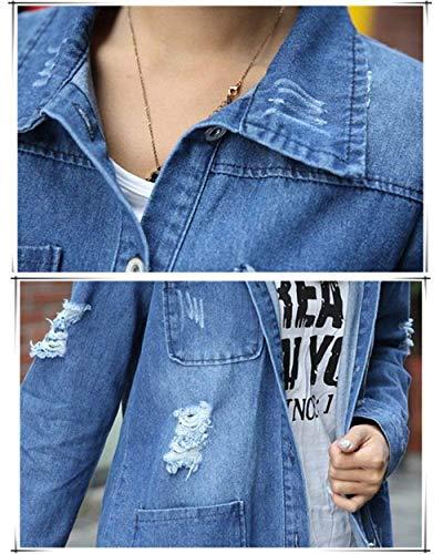 Con Jacket Giacca Festa Donna Casuali Autunno Ragazze Confortevole Lunga Fashion Button Eleganti Cappotto tasca Multi Outwear Blau Denim Jeans Style Manica Primaverile 6ndw6S