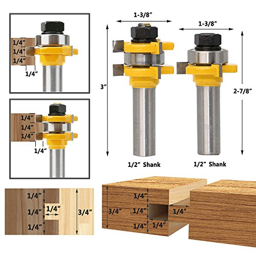 Yakamoz 1/2 Inch Shank Tongue and Groove Router Bit Set 3/4'' Stock 3 Teeth T Shape Wood Milling Cutter Woodworking Tool by Yakamoz (Image #1)