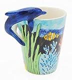Homee Handmade Creative Art Mug Hand-painted Ceramic Cups Ocean Style (Dolphin)