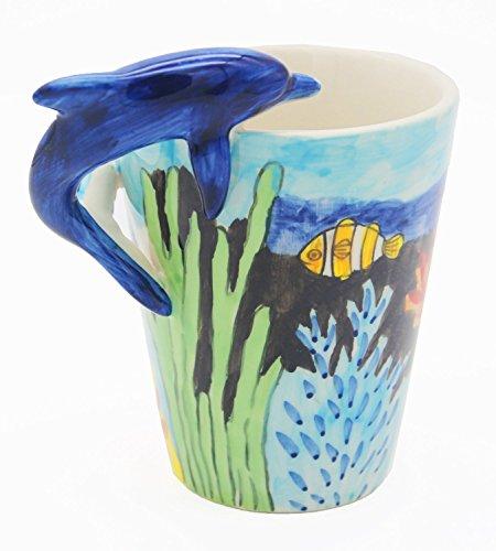 Dolphin Mug - Homee Handmade Creative Art Mug Hand-painted Ceramic Cups Ocean Style (Dolphin)