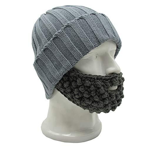 - YEKEYI Unisex Funny Winter Hat w/Fake Beard Detachable Beard Beanie Hand-Knit Hat