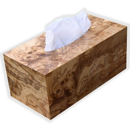 [Wooden Tissue Box Cover In Exotic Olive Ash Burl Rectangular Regular Size. (Kleenex Style Opening With] (Mounted Animal Head Costume)