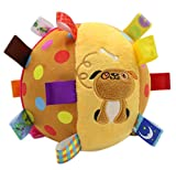 MY FIRST BALL TOY-Baby Soft Plush Rattle Toy Toss Chime Ball Crawl Ball Stroller Toy Stuffed Rainbow Rattle Ball, Dog