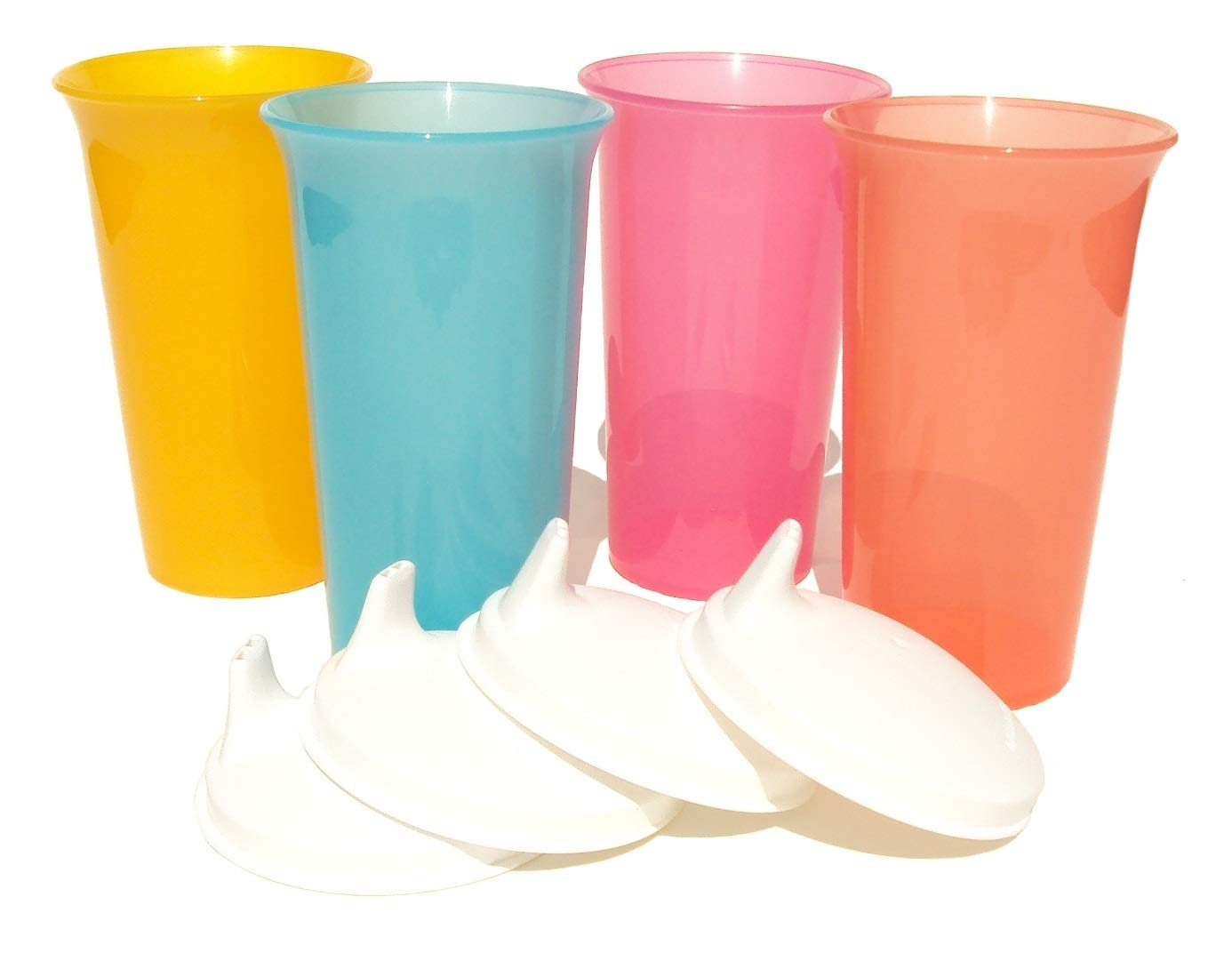 Tupperware 10.5 oz Big Bell Tumblers Set of 4 Sippy Cups White Sipper Seals