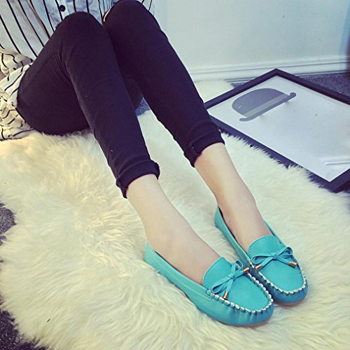 Qinmm Chaussures Casual Papillon Flats Femmes Cuir Gliss En Mode Mocassins Souple Eté Bleu Confort Flat Printemps Noeud 7z5wqnvU