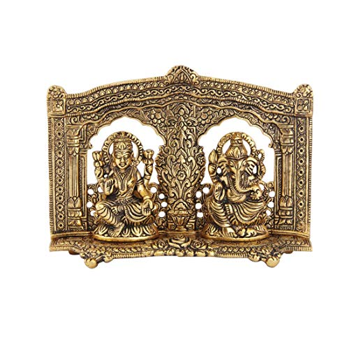 Handicrafts Paradise Ganesh Lakshmi in Metal with Beautiful Carved Pillars Antique Gold Plated