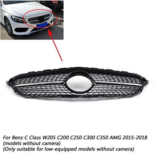 Usudu Black Diamond Grille For Benz W205 C Class C250 C300 C400 2015-2018 Grill For Mercedes Benz W205 (No Camera) (Diamond Grille)