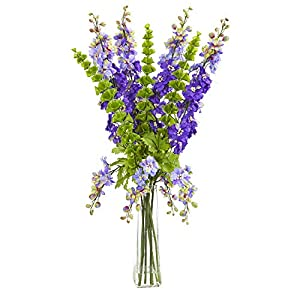 Nearly Natural 1775-PP 34-in. Delphinium and Bell of Ireland Artificial Silk Arrangements Purple 118