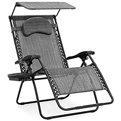 Best Choice Products Oversized Steel Mesh Zero Gravity Reclining Lounge Patio Chair with Folding Canopy Shade and Cup Holder