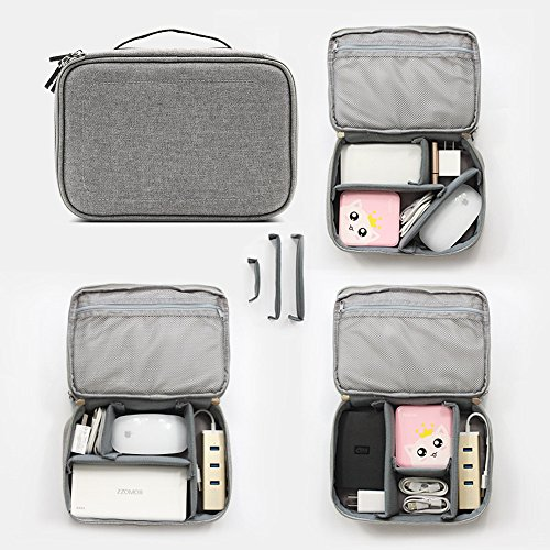 Honeystore Travel Gear Organizer Electronics Accessories Storage Bag Double Layers Travel Gadget Organizer Case for iPad Mini, USB Cable, Plug, Flash Drive, Power Bank, Earphone, Cards and More Gray by Honeystore (Image #5)