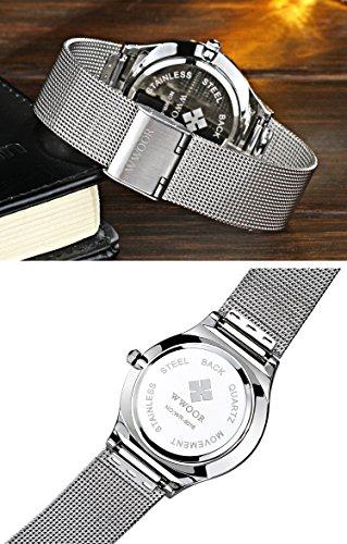 Tamlee Fashion Casual Luxury Brand Mens Analog Quartz Watch Date Steel Mesh Strap Thin Dial Clock