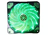 Elepartpro RGB Desktop Computer Fan RGB LED120mm High Volume Silencer Adjustable Color Aurora Aura Fan 15 Lamp LED Fan CPU Cooler and Heatsink for Computer Case(Green)