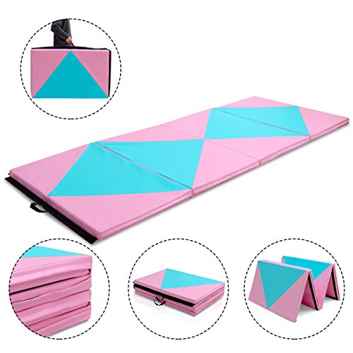 Gymnastics Pink&Blue Exercise Mat 4'x10'x2 Thick Folding Panel Aerobics Gym Fitness with Ebook
