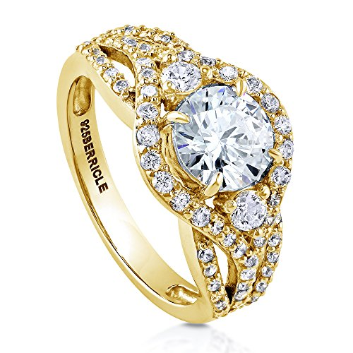 BERRICLE Yellow Gold Plated Sterling Silver Round Cubic Zirconia CZ 3-Stone Anniversary Engagement Ring 2.08 CTW Size 6
