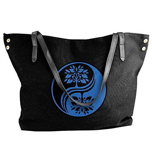 Cotyou-6 Women's Canvas Large Tote Shoulder Handbag Japanese Bonsai Tree in Yin Yang Hobo Bag (Bag Yang)