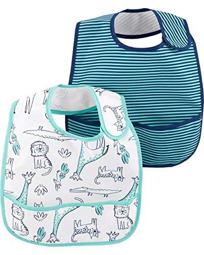 Carter's Baby 2-Pack Feeding Bibs (Blue Safari) ()