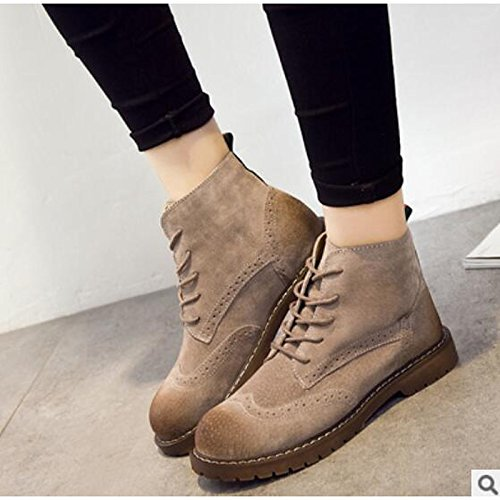 HSXZ Womens Shoes PU Winter Fall Comfort Boots Chunky Heel Round Toe Booties//Ankle Boots for Casual Camel Black