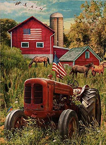 Selmad July 4 Patriotic Garden Flag Summer Fall Farm Double Sided, USA Spring Autumn Old Barn Tractor Horse Burlap Decorative House Yard Decoration, Holiday Seasonal Home Vintage Outdoor Décor 12 x 18