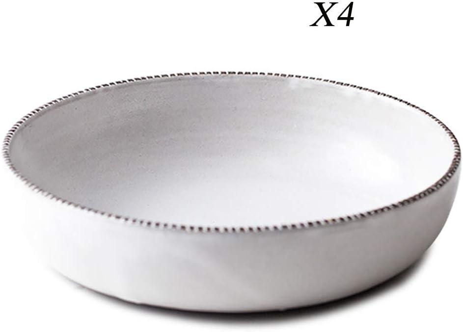 XXLCJ Plato de cerámica Plato Hondo Europeo de gres Línea Profunda Plato de Sopa de Gran Capacidad para el hogar Φ20cm (Color : 4)