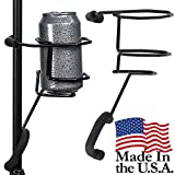 Mic Stand Drink Holder – Microphone & Cymbal Pole Stagehand Music Mount for Soft Beverages Soda Can Coffee or Tea Cup and Water Bottle – Black Heavy Duty Studio Quality Made in USA - String Swing SH01