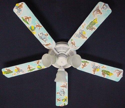 Ceiling Fan Designers Ceiling Fan, Curious George Monkey, 52''
