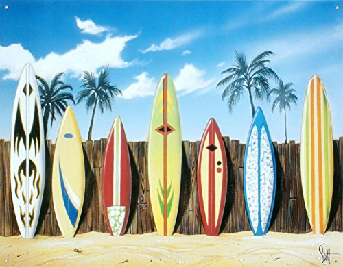 Westmoreland Surfboard Starting Lineup Retro Vintage Tin Sign