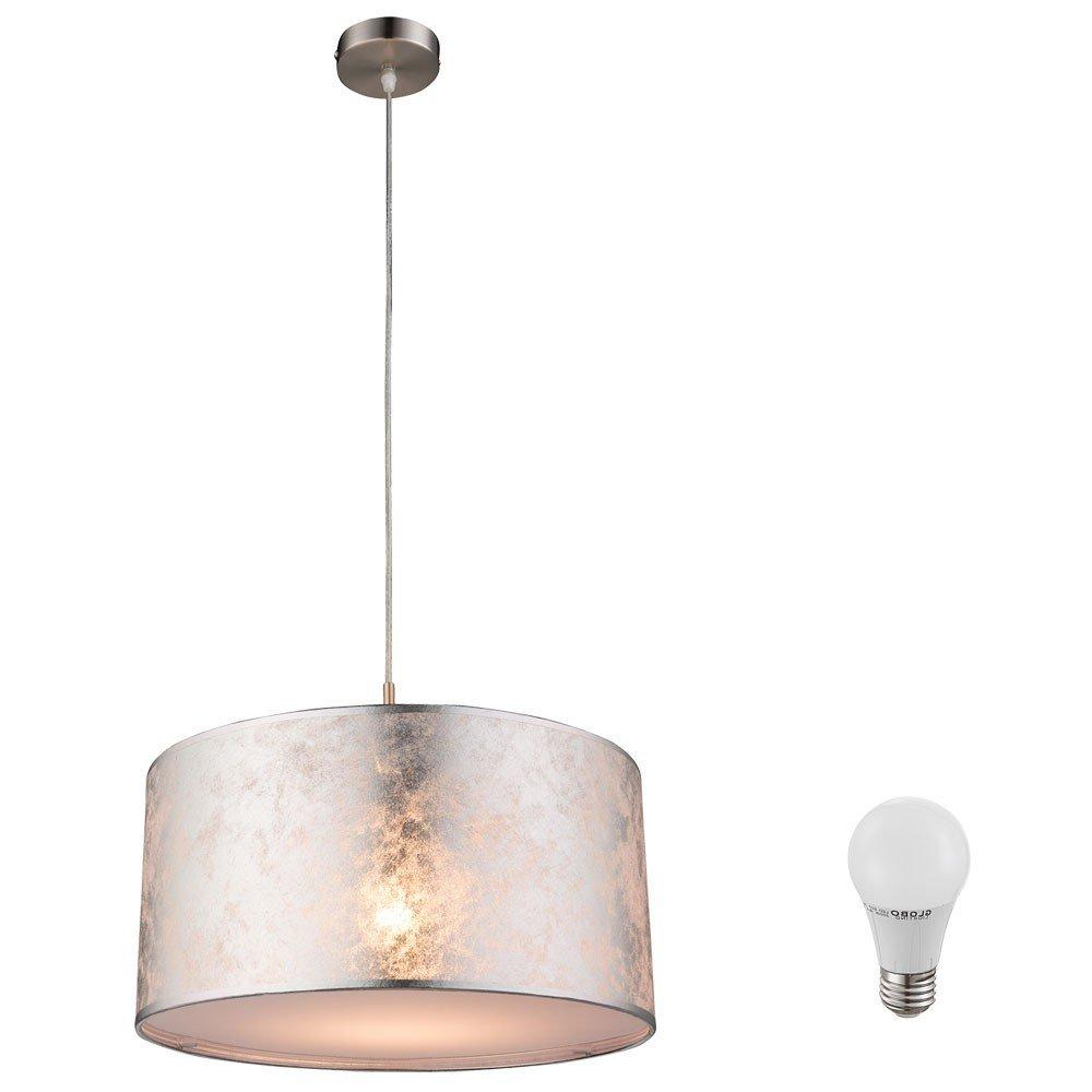 Suspension LED 7 watts lampe luminaire éclairage tissu argenté acrylique satiné