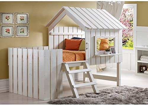 Donco Kids Cabana Loft Bed, Twin, Rustic Pearl